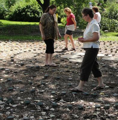 Retreat Participants walking a Labyrinth
