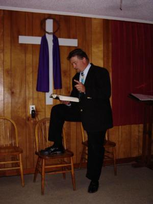 Preacher preparing for service
